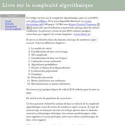 Livre sur la complexité algorithmique
