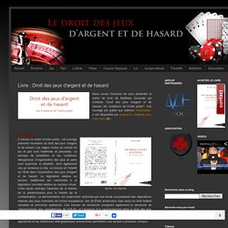 Livre : Droit des jeux d'argent et de hasard