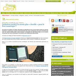 """Livre numérique, un avenir plus """"durable"""" ?"""