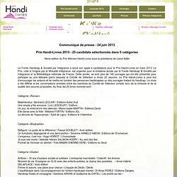 Prix Handi-Livres - Communiqués de presse