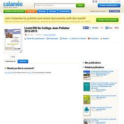Livret IRD 6e Collège Jean Pelletier 2012-2013