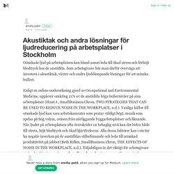 Akustiktak och andra lösningar för ljudreducering på arbetsplatser i Stockholm