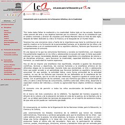 Llamamiento para la pomocion de la Educacion Artistica y de la Creatividad: Sector de Cultura de la UNESCO