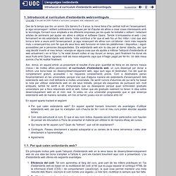 Llenguatges i estàndards - Introducció al currículum d'estàndards web/continguts