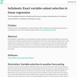 lmSubsets: Exact variable-subset selection in linear regression