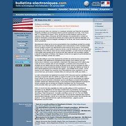 BE Etats-Unis 234 >> 4/02/2011 Politique scientifique - lntégrité scientifique : nouvelles du front (intérieur)
