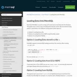 Loading Data Into MemSQL
