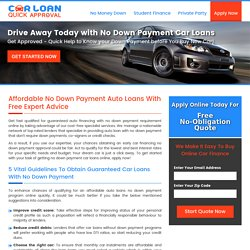 Car Loans with No Down Payment, Get No Down Payment Auto Loans Online