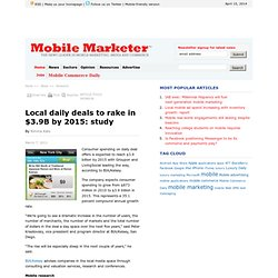 Local daily deals to rake in $3.9B by 2015: study