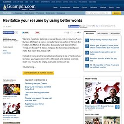 Revitalize your resume by using better words | Pacific Daily News | guampdn.com