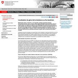AGROSCOPE 14/05/12 Localisation du gène de la résistance au feu bactérien
