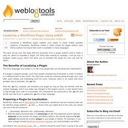 Localizing a WordPress Plugin Using poEdit