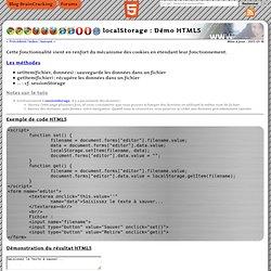 localStorage : Page de démonstration et tutoriel - <html5> par l'exemple - Le site de démo des balises HTML5 et de test du support des navigateurs.