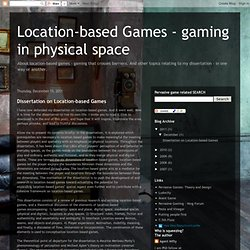 Pervasive Games - gaming in physical space