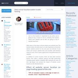 Does server location matter in web hosting