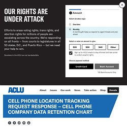 Cell Phone Location Tracking Request Response – Cell Phone Company Data Retention Chart