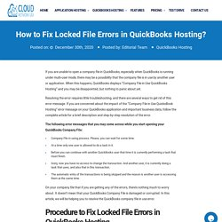 How to Fix Locked File Errors in QuickBooks Hosting?