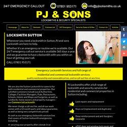 Locksmith Sutton Surrey - Emergency Locksmith Sutton