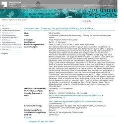 Historische Zeitungen - Zeitungsinformationssystem (ZEFYS)