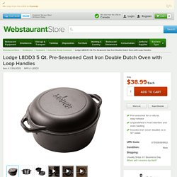 Lodge L8DD3 5 Qt. Pre-Seasoned Cast Iron Double Dutch Oven with Loop Handles