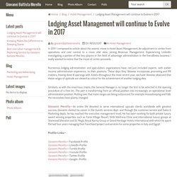Lodging Asset Management will continue to Evolve in 2017