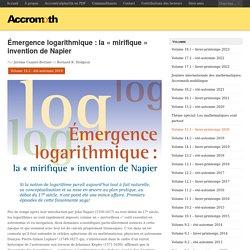 Émergence logarithmique: la «mirifique» invention de Napier