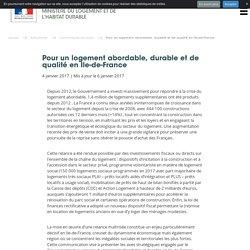 Pour un logement abordable, durable et de qualité en Ile-de-France - 04/01/17