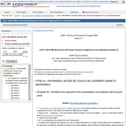 LOI n° 2014-366 du 24 mars 2014 pour l'accès au logement et un urbanisme rénové