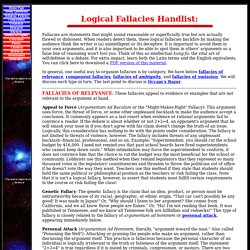 Logical Fallacies Handlist