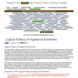 Logical Fallacy of Appeal to Extremes