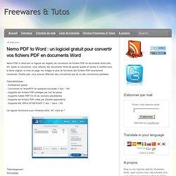 un logiciel gratuit pour convertir vos fichiers PDF en documents Word