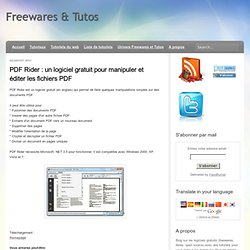 un logiciel gratuit pour manipuler et éditer les fichiers PDF