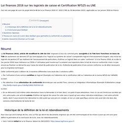 Loi finances 2016 sur les logiciels de caisse et Certification NF525 ou LNE - Dolibarr Open Source ERP CRM Wiki