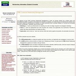 Logiciels CRM, Gestion de la relation Client