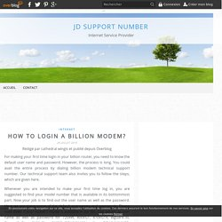 How to Login A Billion Modem? - JD SUPPORT NUMBER