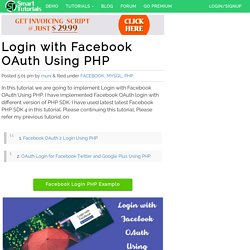 Login with Facebook OAuth Using PHP
