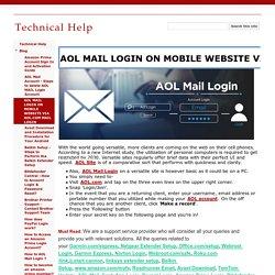 AOL MAIL LOGIN ON MOBILE WEBSITE VIA AOL.COM MAIL LOGIN - Technical Help