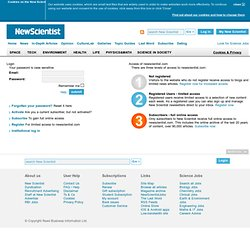 My New Scientist - Registered user - New Scientist