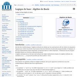 Logique de base/Algèbre de Boole