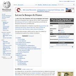 Banque de France. Loi du 3 janvier 1973