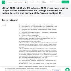 LOI n°2020-1266 du 19 octobre 2020