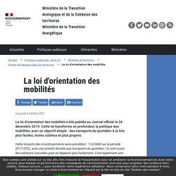 La loi d'orientation des mobilités