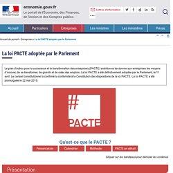 La loi PACTE adoptée par le Parlement