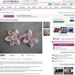 2 fleurs en tissu rose et blanc : Loisirs créatifs, scrapbooking par lm-scrap sur Alittlemarket