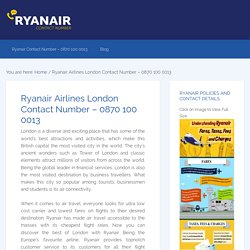 Ryanair Airlines London Contact Number – 0870 100 0013