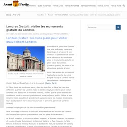 Londres gratuit : visiter les monuments et sites gratuits de Londres