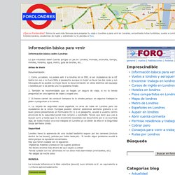 Foro Londres, Todos los trucos para visitar o vivir en Londres » Información básica para venir