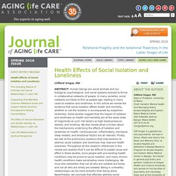 Health Effects of Social Isolation and Loneliness – Aging Life Care Association™