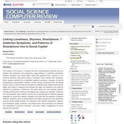 Linking Loneliness, Shyness, Smartphone Addiction Symptoms, and Patterns of Smartphone Use to Social Capital