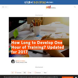 How Long to Develop One Hour of Training? Updated for 2017